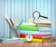 School supplies on wooden background back. Stock Photography
