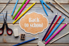 School supplies on wooden background Stock Photo