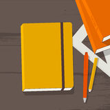 School supplies on wooden desk Stock Images