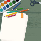 School supplies on wooden desk Royalty Free Stock Photo