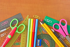 School supplies on the wooden table Stock Photos