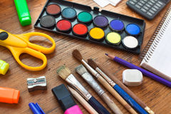 School supplies on wooden table Royalty Free Stock Photo