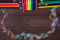 School supplies on a wooden table Royalty Free Stock Photography