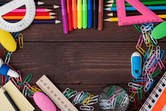 School supplies on a wooden table Royalty Free Stock Photo