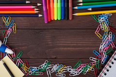 School supplies on a wooden table Stock Photography