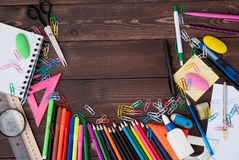 School supplies on a wooden table Stock Photo