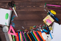 School supplies on a wooden table Stock Image