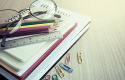 School supplies on wooden table Stock Photography
