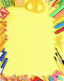 School Supplies on Yellow Stock Photography