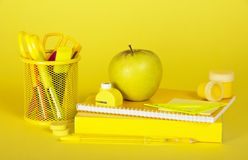 School supplies in yellow colors Stock Photography