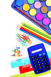 School supply border Stock Images
