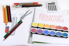 School supply. School exercise education material supply Stock Photo