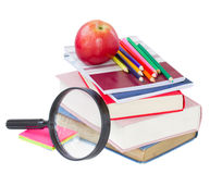 School supply and looking glass Royalty Free Stock Photo