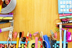 School supply on wooden desk Royalty Free Stock Image