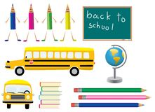 School symbols. Different  objects back to school subject Royalty Free Stock Photo