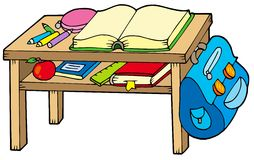 School table. On white background - vector illustration Royalty Free Stock Photos