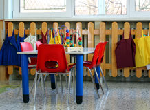school table with chairs and toys inside a School Royalty Free Stock Photos