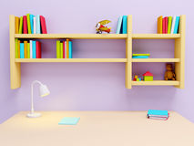 School table in room. School desk with lamp and book shelves. 3d illustration Royalty Free Stock Photo