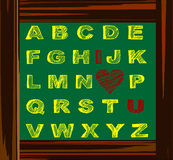 School table sketch alphabet Stock Image