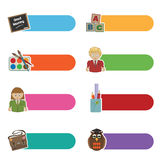 School tabs. Set of bright tabs with school motifs isolated on white Royalty Free Stock Photography