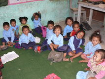 School in Tallo Chipla - Annapurna trekking - Nepal Royalty Free Stock Images