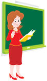 School teacher. Vector clip-art of a schoolmistress standing at a blackboard in a class Stock Photos
