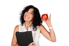 School teacher with an apple. Royalty Free Stock Photography