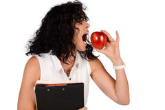 School teacher with an apple. Royalty Free Stock Photos