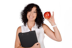 School teacher with an apple. Royalty Free Stock Image