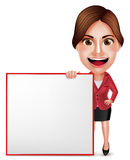 School Teacher or Businesswoman Vector Character Talking Holding White Board Royalty Free Stock Images