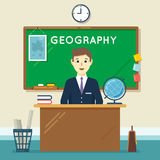 School teacher in classroom. Geography lesson Royalty Free Stock Images
