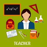 School teacher with education icons Royalty Free Stock Images