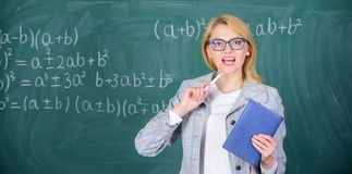 School teacher explain things well and make subject interesting. Teaching complex multifaceted activity. Teacher smart stock image