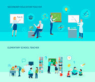 School Teacher Flat Banners Set. Elementary and secondary education school teachers in classroom 2 flat horizontal background banners set  vector illustration Royalty Free Stock Photo