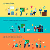 School Teacher Flat Banners Set. Elementary and secondary school teachers professional development 3 flat horizontal colorful background banners set isolated Stock Photo