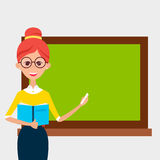 School Teacher with Glasses and Book and Empty Chalkboard. Lady Teacher with Glasses and Book and Empty Chalkboard. Vector Illustration of People Character  over Royalty Free Stock Photography