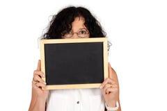 School teacher holding chalkboard. Royalty Free Stock Photography