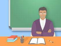 School teacher man at the desk flat education illustration Stock Photography