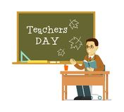 School teacher near blackboard in flat style Stock Photo