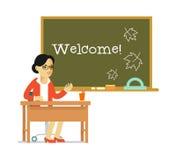 School teacher near blackboard in flat style Royalty Free Stock Images