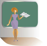 School teacher. New teacher stands at the blackboard. Vector image Royalty Free Stock Images