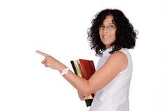School teacher pointing somewhere. Stock Image