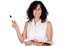 School teacher pointing somewhere. Stock Images