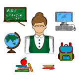 School teacher profession and education icons Stock Image