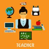 School teacher profession flat concept Royalty Free Stock Photos