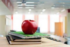 School teacher`s desk. Teacher desk classroom table teaching academic stock image
