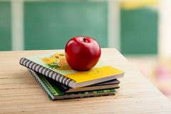 School teacher`s desk. Teacher desk classroom table teaching academic royalty free stock photo
