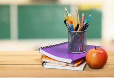 School teacher`s desk stock image