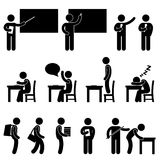School Teacher Student class classroom Symbol. A set of human figure and pictogram showing scenarios in a school Royalty Free Stock Photo