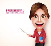 School Teacher Vector Character Smiling Holding Books while Teaching Lessons Royalty Free Stock Photos